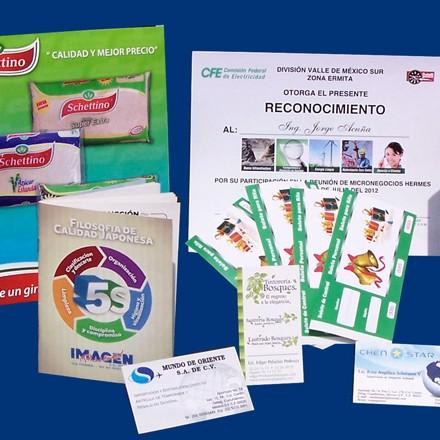 Flyers, Tarjetas de Presentación, Tarjetas de Felicitación, Calendarios, Menús, Postals, Separadores de libros, Etiquetas, Adheribles, etc.