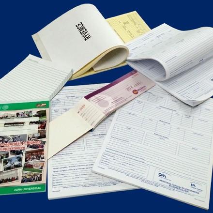 Hojas membretadas, Sobres, Tarjetas de checador, Blocks, Fólders, Formatos para reporte de control.